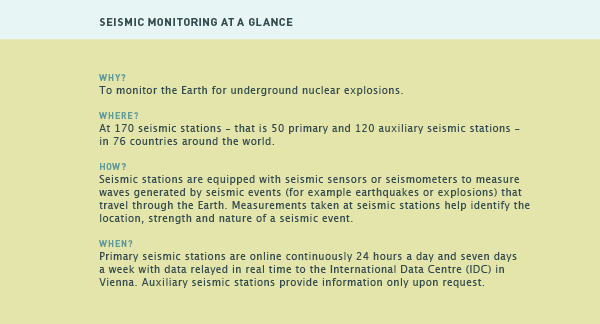 Seismic monitoring: CTBTO Preparatory Commission